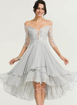 A-Line Off-the-Shoulder Asymmetrical Chiffon Cocktail Dress With Beading (016170903)
