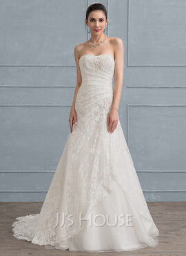 Trumpet/Mermaid Sweetheart Sweep Train Tulle Lace Wedding Dress With Ruffle Beading Sequins (002111950)