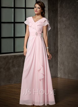 A-Line V-neck Floor-Length Chiffon Mother of the Bride Dress With Crystal Brooch Cascading Ruffles (008006120)