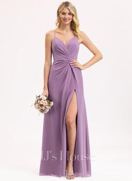 A-Line V-neck Floor-Length Chiffon Bridesmaid Dress With Ruffle Split Front (007206468)