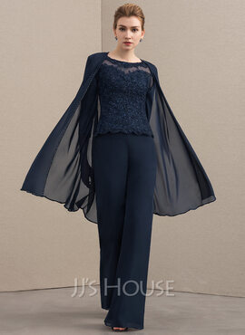 Jumpsuit/Pantsuit Scoop Neck Floor-Length Chiffon Lace Mother of the Bride Dress With Beading (008152138)
