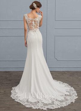 Trumpet/Mermaid Court Train Stretch Crepe Wedding Dress (002118439)