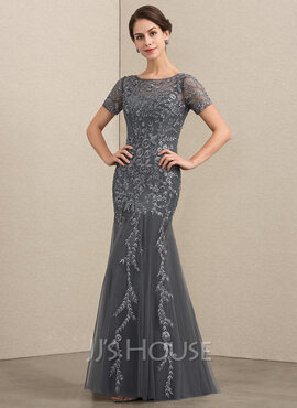 Trumpet/Mermaid Scoop Neck Floor-Length Tulle Lace Mother of the Bride Dress With Beading Sequins (008152117)