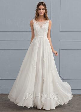 A-Line Illusion Floor-Length Chiffon Wedding Dress With Cascading Ruffles (002119799)
