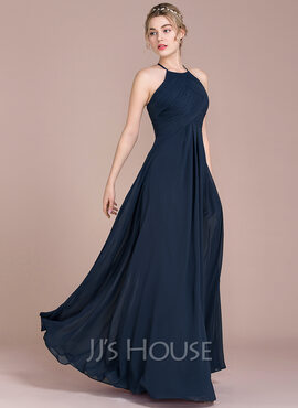 A-Line/Princess Scoop Neck Floor-Length Chiffon Evening Dress With Ruffle (017116487)