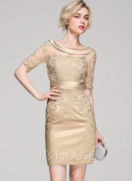 Sheath/Column Scoop Neck Knee-Length Satin Cocktail Dress With Ruffle Appliques Lace (016081163)