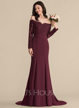 Trumpet/Mermaid Off-the-Shoulder Court Train Chiffon Lace Bridesmaid Dress (007153336)
