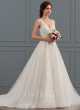 Ball-Gown/Princess V-neck Court Train Tulle Wedding Dress (002127247)