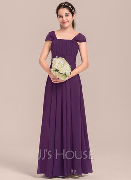 A-Line Square Neckline Floor-Length Chiffon Junior Bridesmaid Dress With Ruffle (009130616)