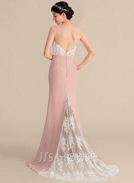 Trumpet/Mermaid Sweetheart Sweep Train Chiffon Lace Prom Dresses (018186922)