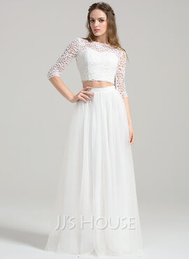 A-Line/Princess Scoop Neck Floor-Length Tulle Wedding Dress (002084734)