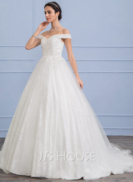Ball-Gown Off-the-Shoulder Sweep Train Tulle Wedding Dress With Beading Sequins (002107830)