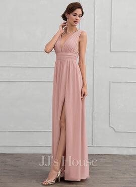 A-Line V-neck Floor-Length Chiffon Evening Dress With Ruffle (017116322)
