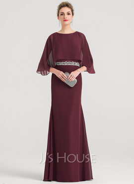 Sheath/Column Scoop Neck Floor-Length Chiffon Evening Dress With Beading Sequins (017147942)