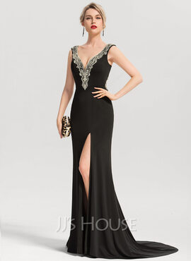 Trumpet/Mermaid V-neck Sweep Train Jersey Evening Dress With Beading (017153624)
