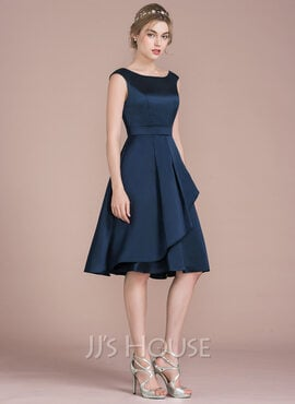 A-Line Scoop Neck Knee-Length Satin Homecoming Dress With Cascading Ruffles (022116409)