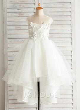 A-Line Asymmetrical Flower Girl Dress - Satin/Tulle/Cotton Sleeveless Bateau (010092666)