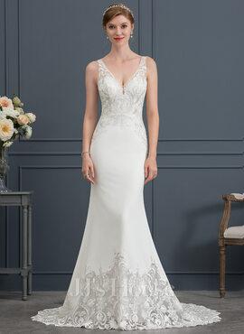 Trumpet/Mermaid V-neck Court Train Stretch Crepe Wedding Dress (002171958)