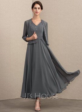 A-Line V-neck Ankle-Length Chiffon Mother of the Bride Dress With Beading Sequins (008164083)