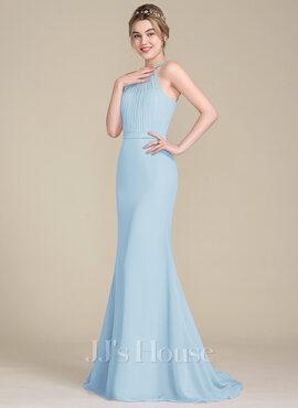 Trumpet/Mermaid Scoop Neck Sweep Train Chiffon Tulle Bridesmaid Dress With Ruffle (007104718)
