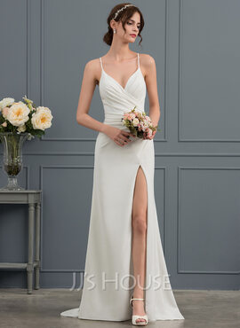 Sheath/Column V-neck Sweep Train Stretch Crepe Wedding Dress With Ruffle Split Front (002153443)
