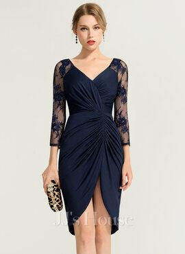 Sheath/Column V-neck Asymmetrical Jersey Cocktail Dress With Ruffle (016170852)