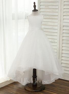 A-Line/Princess Asymmetrical Flower Girl Dress - Satin/Tulle Sleeveless Scoop Neck With V Back (010153214)