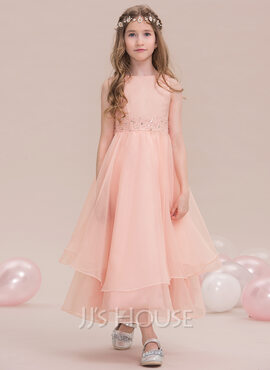 A-Line Scoop Neck Ankle-Length Organza Junior Bridesmaid Dress With Beading Sequins (009119602)