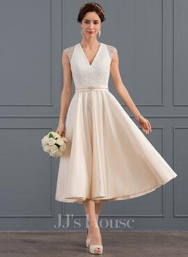 A-Line V-neck Tea-Length Satin Wedding Dress With Beading Sequins (002127244)