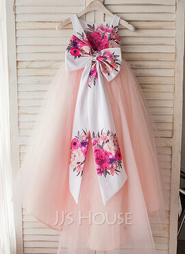 A-Line Asymmetrical Flower Girl Dress - Satin/Tulle Sleeveless Scoop Neck With Flower(s)/Bow(s) (010119318)