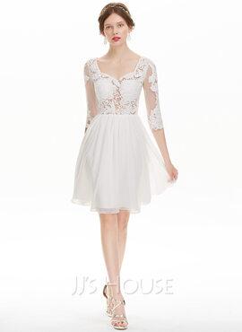 A-Line Sweetheart Knee-Length Chiffon Homecoming Dress (022127962)