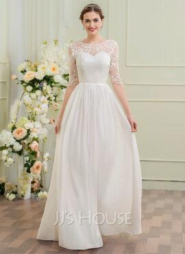 A-Line Illusion Floor-Length Chiffon Wedding Dress (002095838)