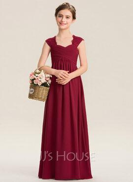 Empire Sweetheart Floor-Length Chiffon Lace Junior Bridesmaid Dress With Ruffle (009173278)