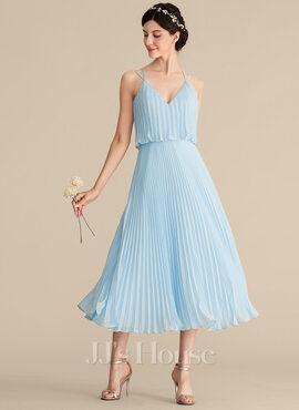 A-Line/Princess V-neck Tea-Length Chiffon Bridesmaid Dress With Pleated (007165865)