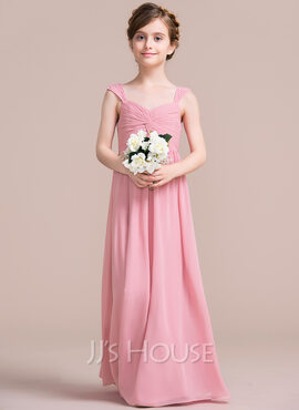 A-Line Sweetheart Floor-Length Chiffon Junior Bridesmaid Dress With Ruffle Beading (009097067)
