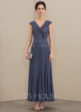 A-Line V-neck Ankle-Length Chiffon Lace Mother of the Bride Dress With Ruffle Beading (008179201)