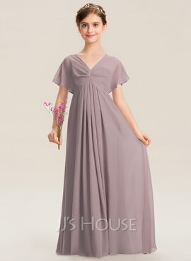 Empire V-neck Floor-Length Chiffon Junior Bridesmaid Dress With Ruffle (009173299)