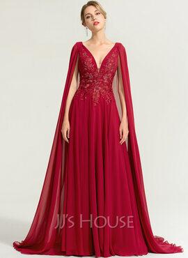 A-Line V-neck Floor-Length Chiffon Evening Dress With Sequins (017167718)