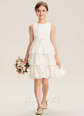 A-Line Scoop Neck Knee-Length Chiffon Junior Bridesmaid Dress With Bow(s) Cascading Ruffles (009173308)