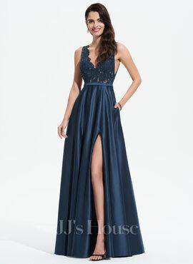 A-Line V-neck Floor-Length Satin Prom Dresses With Lace Sequins Split Front Pockets (018175920)