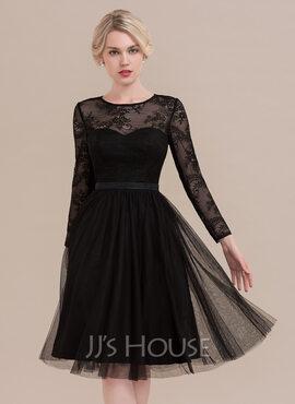 A-Line Scoop Neck Knee-Length Tulle Cocktail Dress (016108725)