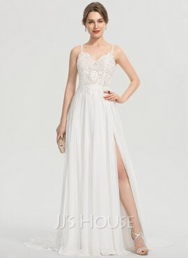 A-Line V-neck Sweep Train Chiffon Prom Dresses With Split Front (018192362)