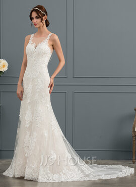 Trumpet/Mermaid Scoop Neck Court Train Tulle Lace Wedding Dress With Beading (002145312)