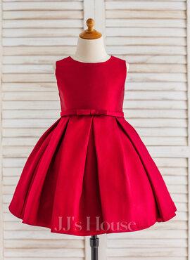 A-Line/Princess Knee-length Flower Girl Dress - Satin Sleeveless Scoop Neck With Ruffles (010090649)