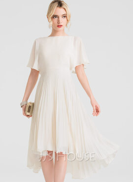 A-Line Scoop Neck Asymmetrical Chiffon Homecoming Dress With Pleated (022163552)