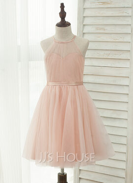 A-Line/Princess Knee-length Flower Girl Dress - Tulle/Charmeuse Sleeveless Halter With Back Hole (010141224)