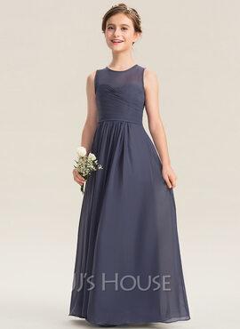 A-Line Scoop Neck Floor-Length Chiffon Junior Bridesmaid Dress With Ruffle (009173284)