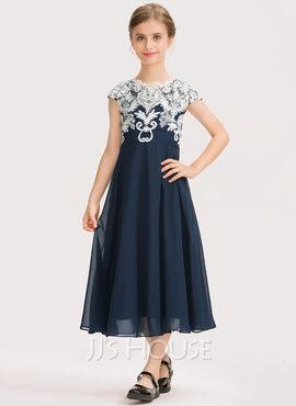 A-Line Scoop Neck Tea-Length Chiffon Lace Junior Bridesmaid Dress (009191700)