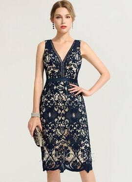 Sheath/Column V-neck Knee-Length Lace Cocktail Dress (016170874)