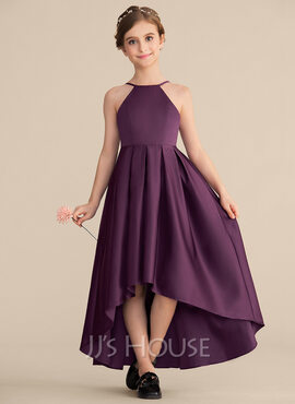A-Line Scoop Neck Asymmetrical Satin Junior Bridesmaid Dress With Ruffle (009165033)